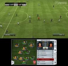 Review FIFA 13: Kijk op de GamePad voor extra informatie over de wedstrijd en je spelers. Zo kun je snel wisselen zonder de game te pauzeren.
