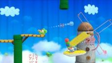 Review Yoshi's Woolly World: Alles is gemaakt van wol, dus ook de platformen die je zelf moet maken met een bolletje wol.
