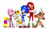 De hoofdkarakters van links naar rechts: Amy Rose, Tails, Sonic, Knuckles en Sticks.