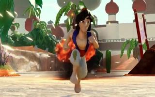 Aladdin moet snel die explosie ontwijken.