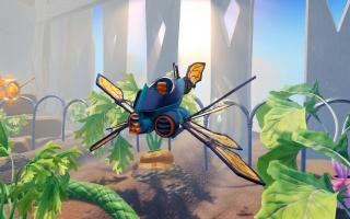 De Buzz Wing vliegt door een veld vol met groente.