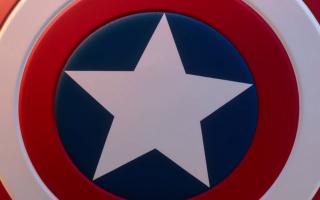 Hier ziet u het iconische schild van Captain America!