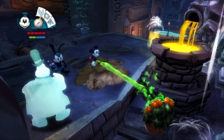 Mickey gebruikt zijn verfkwast als wapen, Oswald zijn afstandsbediening.