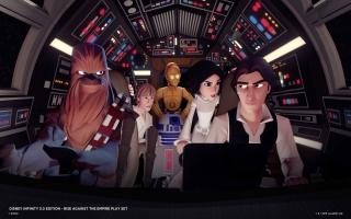 Zie hier <a href = https://www.mariowii-u.nl/Wii-U-spel-info.php?t=Han_Solo_-_Disney_Infinity_30>Han Solo</a> en <a href = https://www.mariowii-u.nl/Wii-U-spel-info.php?t=Chewbacca_-_Disney_Infinity_30>Chewbacca</a> in de Millennium Falcon.