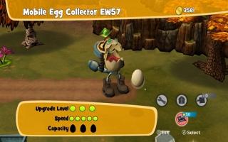 De eieren kun je op laten halen door een doodenge eierrobot. Je zou ze ook zelf kunnen pakken...