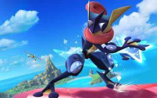 Hier zie je Greninja in actie in Smash Bros. waar hij 1 van zijn bekendste aanvallen gebruikt.