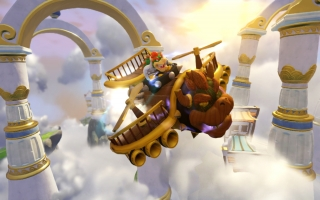 Vlieg met Bowser in de <a href = https://www.mariowii-u.nl/Wii-U-spel-info.php?t=Clown_Cruiser_-_Skylanders_SuperChargers_Luchtvoertuig>Clown Cruiser</a> in de vlieg missies