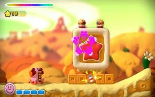 Hier schiet Kirby zich een weg door het spel
