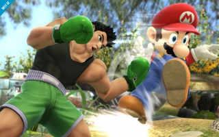 Little Mac geeft Mario een flinke klap in <a href = https://www.mariowii-u.nl/Wii-U-spel-info.php?t=Super_Smash_Bros_for_Wii_U>Super Smash Bros. For Wii U</a>.