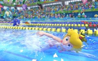 Peach is een echte zwemkampioene.