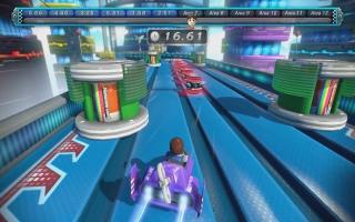 Er zijn ook attracties voor 1 speler, zoals C. Falcon's Race. Op de GamePad zie je een andere kijkhoek!
