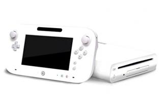 Hier zie je de <a href = https://www.mariowii-u.nl/Wii-U-spel-info.php?t=Wii_U_-_Originele_Reserve_Onderdelen>Wii U gamepad</a> en console in het wit.