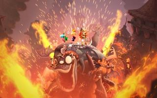 Een spectaculair einde van één van de muzieklevels van het spel. Luchtgitaar spelen op een monster!