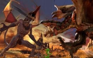 Ridley in gevecht met Rathalos uit de Monster Hunter-serie. Pas op, <a href = https://www.mariowii-u.nl/Wii-U-spel-info.php?t=Yoshis_Woolly_World>Yoshi</a>!