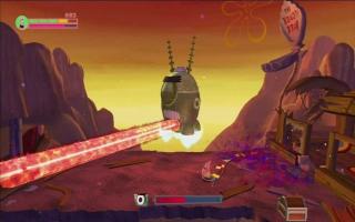 Met behulp van zijn grote robot neemt Plankton wraak.
