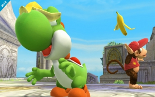 Yoshi is een geducht tegenstander in <a href = https://www.mariowii-u.nl/Wii-U-spel-info.php?t=Super_Smash_Bros_for_Wii_U>Super Smash Bros</a>.
